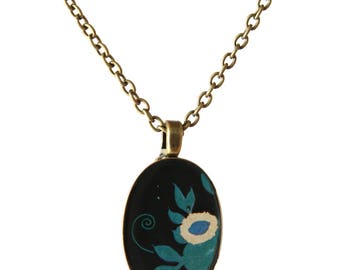 Handmade Pendant Necklace, Floral Pattern, Jewelry