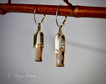 Gold Swarovski Crystals Riveted to Sterling Silver Earrings
