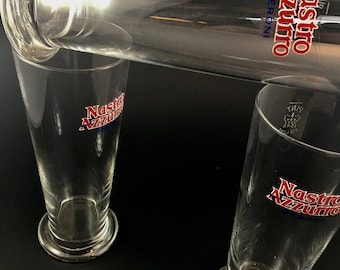 Italian Pint Glasses Barware Peroni Nastro Azzurro set of 3