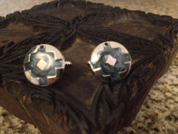 SALE Vintage Cufflinks Made from Handcrafted Native American Earrings