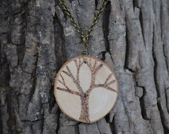 Tree Necklace, Burnt Wood Necklace