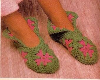 Vintage Cuffed Slippers Crochet Pattern