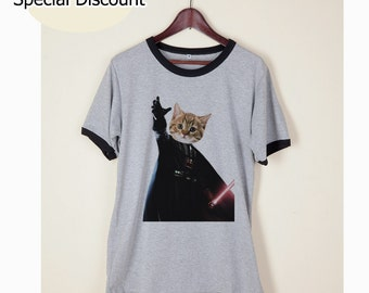 Cat Shirt Clothing Tshirt Darth Vader Tumblr Funny Wording Quote Light Gray and White