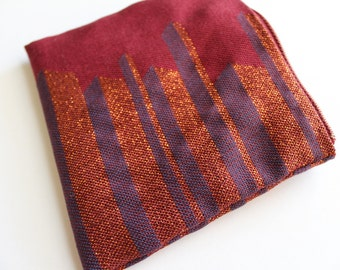 Hand woven silk and cotton maroon purse with metallic copper thread and silk blue lines