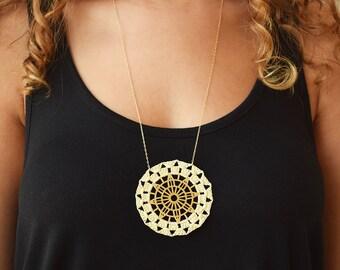 Statement necklace, bohemian necklace,  unique necklace, crochet jewelry, long gold necklace, circular necklace, textile jewelry, art deco