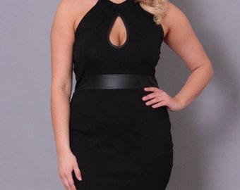 Plus Size Keyhole Mini Dress - Black - Sizes 0X - 4X