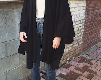 Vintage Black Knit Cape Cardigan