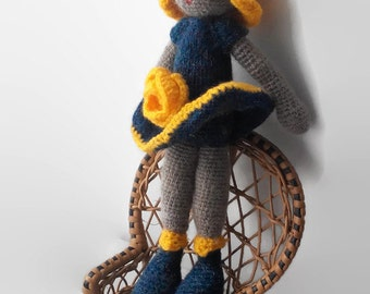 Crochet Doll with flower Art Doll Amigurumi Doll Crochet toy doll gift crochet doll Amigurumi handmade souvenir Stuffed Personalized Doll