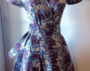 Purple and Blue Vine Print Wrap Dress-Medium