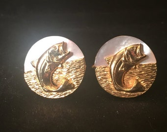 Swank brass and mother of pearl bass cuff links