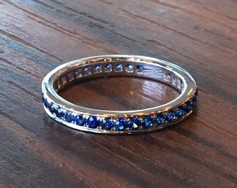 SAPPHIRE WEDDING BAND, Sapphire Eternity Ring, Sapphire Ring, Sapphire Band, Sapphire Wedding Ring, Sapphire Wedder, Wedding Blue Sapphire