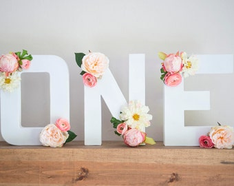 """Made to Order Floral """"ONE""""- Floral Paper Mache Letters - First Birthday Photo Props - First Birthday Party Decorations"""