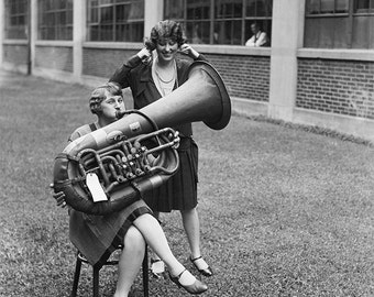 Tuba playing Woman Photograph, 1928,  Black White Photography, Girlfriends & Friendship, Wall Art, Gift, For Her, Orchestra Music, Student