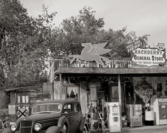 Route 66 Photo, Hackberry Arizona General Store, Black White Photography, American West, Rustic Decor