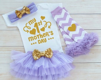 Mother's Day Girl Shirt, My 1st Mothers Day, Baby Girl Mother's Day Outfit, Mother's Day Gift, Mothers Day Baby Bodysuit, Mother's Day 2017