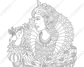 Adult Coloring Pages Queen Zentangle Doodle Book For Adults Digital Illustration