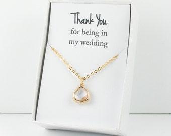 Crystal Gold Necklace, Bridesmaid Crystal Necklace, Clear and Gold Necklace, Clear Wedding Accessory, Bridesmaid Jewelry