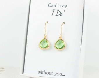 Tiny Peridot Gold Earrings, Gold Green Earrings, Green Wedding Jewelry, Bridesmaid Gift, Bridesmaid Earrings, Green Bridal Accessories