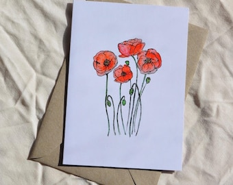 Red poppy blank greeting card, flower card, poppy print, floral inspired, botanical greeting card