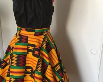 Yellow Kente African Print Circle Skirt