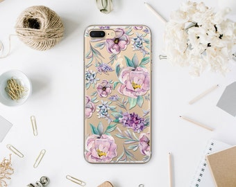 Lilac iPhone 7 Clear Case Floral iPhone 5s Soft Case iPhone 6 Clear Purple Case Phone 6S Plus Clear Phone Case For Samsung s8 Plus MN049