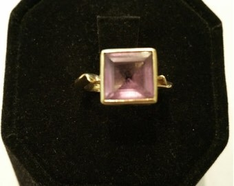 Square cut Amethyst and 14kt Gold ring - #141