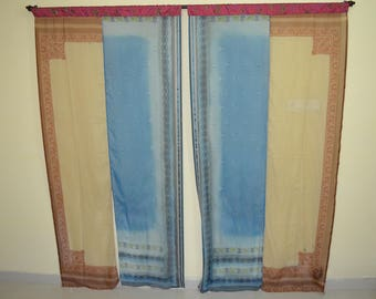 Indian Partition Curtain Scarves Curtain Gypsy Curtain Hippy Curtain Boho  Curtain Recycled Fabric Ivory Brown Blue