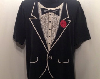 Classic 90s TUXEDO T Shirt / Old School Tuxedo Funny Party Shirt Mens Size L/XL