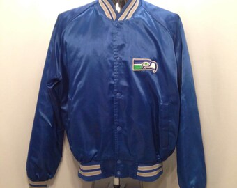 80s SEATTLE SEAHAWKS Satin Jacket / Vintage Chalk Line NFL Football Seattle Seahawks Lightweight Satin Jacket Men's Size Medium