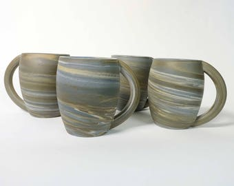 Large Marbled Clay Mugs