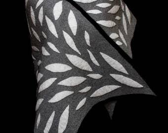 Black & White hand felted merino wool shawl