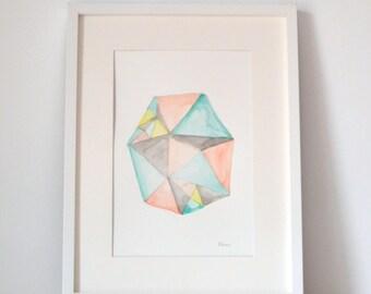 Original geometric watercolor 1 of 1. Minimalist watercolor