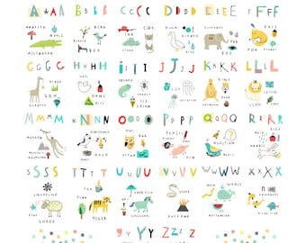 INSTANT Downloadable Vector Art; Kids Alphabet; Alphabet Art; Alphabet Printable; Clip Art; ABC Vector