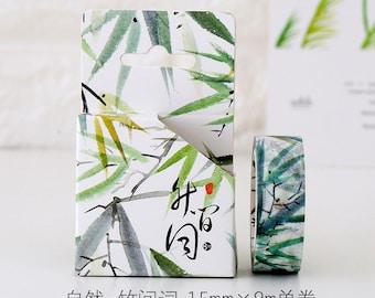 Bamboo Japanese Washi Tape, Masking Tape, Planner Stickers,Crafting Supplies,Scraping Booking,Adhesive Tape,Floral Washi Tape