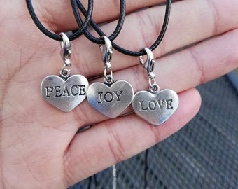 Word Pendent Necklace, Choker Necklace,Personal Word, Peace, Love, Joy, Under 10