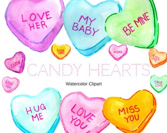 Heart Clipart - Valentines Day Clipart - Candy Clipart - Watercolor Clipart - Drawing Clipart - Valentines Clipart