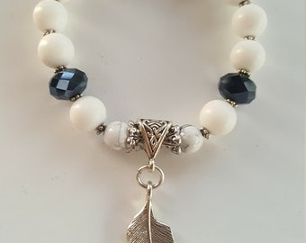 Authentic White Jade Feather Charm Bracelet
