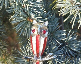 Vintage Enamel Silver Tone Owl Brooch, Vintage Brooch, Vintage Pin, Owl