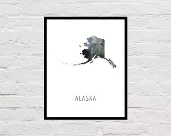Alaska Map Print, Printable Alaska State Map, Alaska Art Print, Alaska Printable Wall Art, Watercolor Map, Alaska Poster, Digital Download