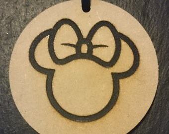 Minnie Mouse Silhouette Tag Token  Decoration MDF Wood Disney