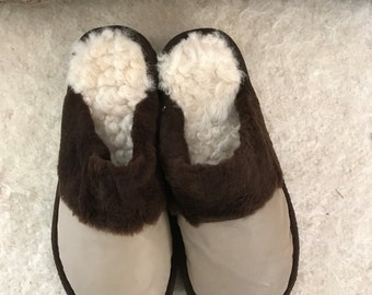 Fluffy white women slippers, real leather, sheepskin inside, cosy and flexible