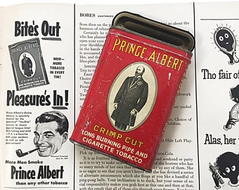 1950s Prince Albert Tobacco Tin With 1951 Ad from Life Magazine Picturing Same Can Classic Red & Yellow Tin Nicely Worn Can Tobacciana