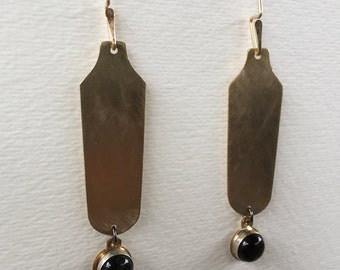 SALE:  Brushed brass earrings with black obsidian drops