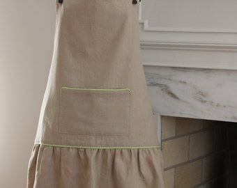 Women's Linen Apron, Beige, 100% Linen, One Size.