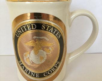 Beautiful Vintage Fine Japanese Chokin Art Painted Dynasty Gallery, United States Marine Corp Mug