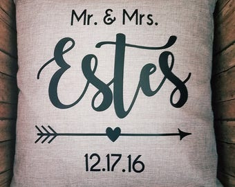 Mr. & Mrs. Pillow - Wedding Pillow - Personalized