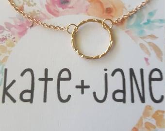 Open Circle Necklace Rose Gold Karma Hammered Minimilist