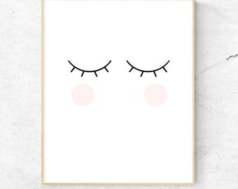 Blink Cheeks Eyelash Wall Art, Nursery Wall Art, Child's Room Wall Art, Lashes - Instant Download