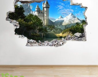 Fairytale Castle Wall Sticker 3d Look - Boys Girls Enchanted Wall Decal Z111