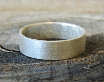 Pure Silver Ring - Luster Collection 6mm Wide Band - 99.999 Silver Grade